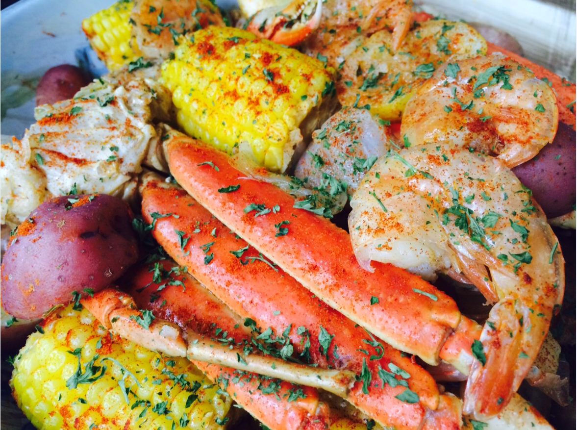 Seafood Boil - Jumbo Shrimp, Crab Legs, Sweet Sausage, Corn on the Cob ...